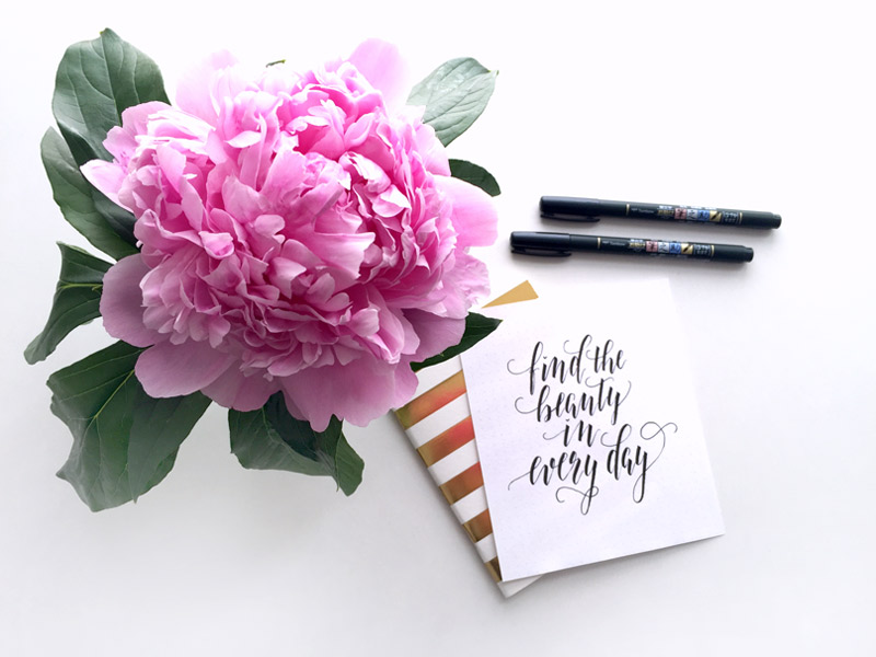 Spruch in Kalligraphie geschrieben: Find the beauty in every day