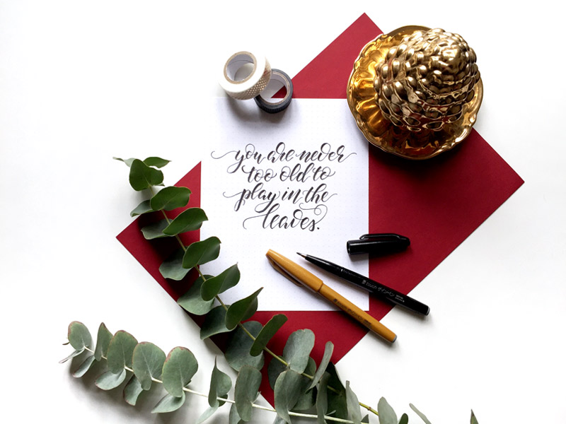 Brush Lettering mit Herbstspruch: You are never too old to play in the leaves