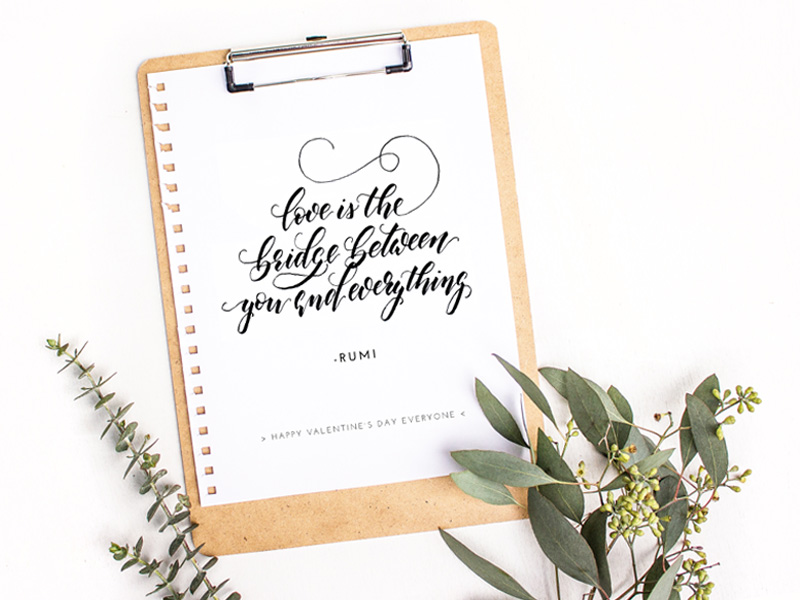 Handlettering mit Zitat von Rumi: Love is the bridge between you and everything